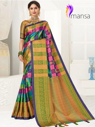 Mansa Fancy Art Soft Silk Saree
