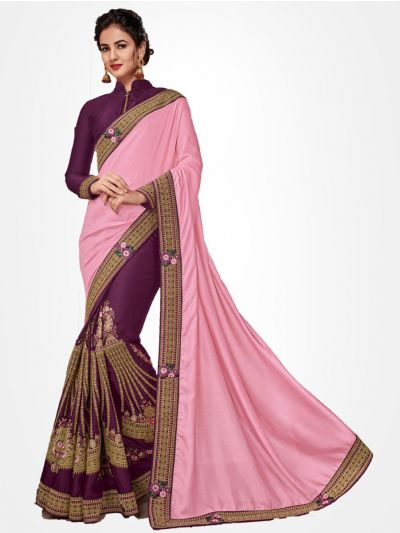 Half and Half Party wear Pink with Magenta saree  - PWSE1112