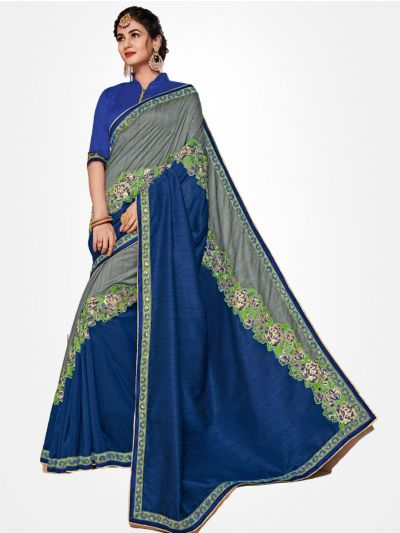 Party wear Blue with Grey saree  - PWSE1114