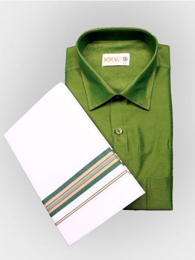 Art Silk Shirt with Cotton Dhoti Set - Green-KKVC111