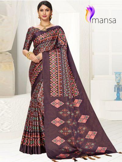 Mansa Fancy Art Soft Silk Saree With Stone Work