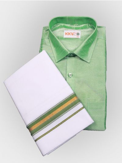 Art Silk Shirt with Cotton Dhoti Set - Green-KKVC114