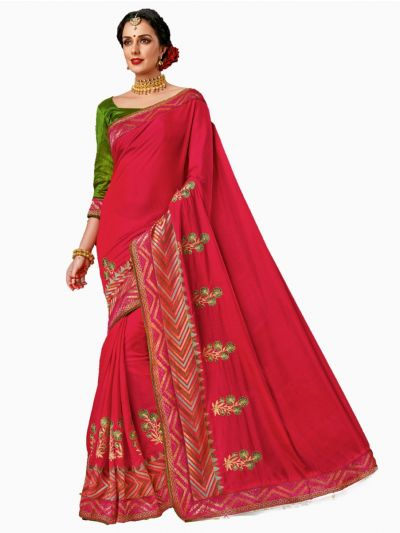 Party wear Sana Silk Red Saree - PWSS114