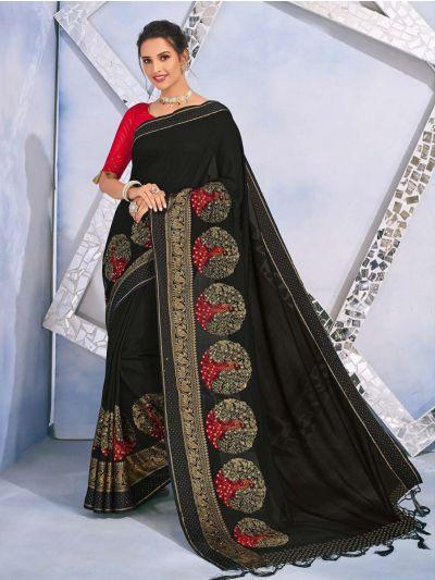 Kathana Fancy Raw Silk With Stone Work Saree-MYR1157