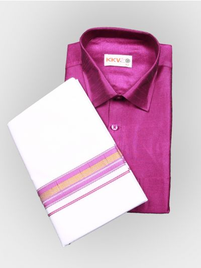 Art Silk Shirt with Cotton Dhoti Set - Pink-KKVC115