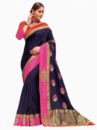 Party wear Sana Silk Blue Saree - PWSS115