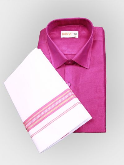 Art Silk Shirt with Cotton Dhoti Set - Pink-KKVC118-42