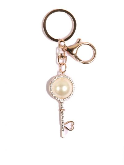 Ivory Key Chain With Ivory Crystel Stone and Gold metal Ring - KCC11