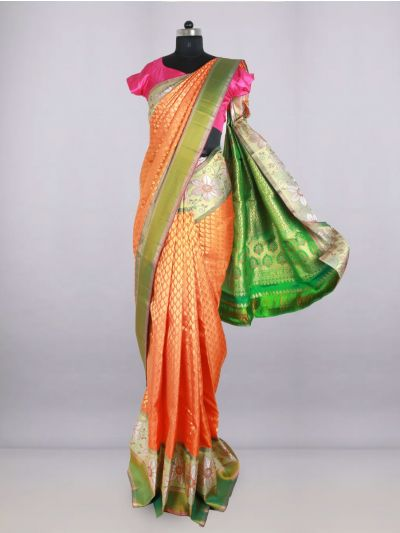 Vivaha Bridal Orange Pure Silk Saree