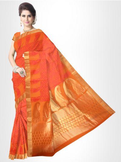 Fancy Silk Cotton Saree-Orange with Pink-FCS122
