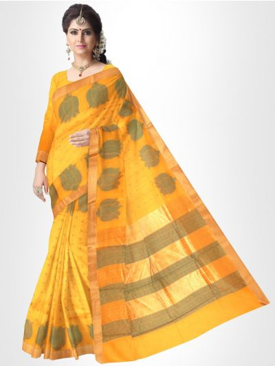 Fancy Silk Cotton Saree-Yellow With Green - FCS123