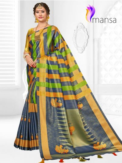 Mansa Fancy Art Soft Silk Saree With Stone Work
