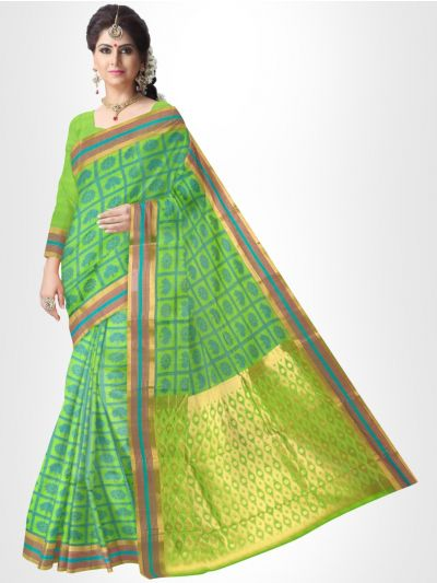 Fancy Silk Cotton Saree-Green - FCSS125