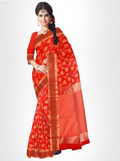 Fancy Silk Cotton Saree-Red - FCSS126