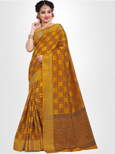 Raw Silk Weaving Design Yellow Saree