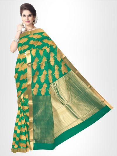 Fancy Silk Cotton Saree-Green - FCSS127