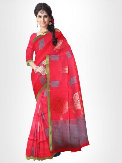 Fancy Silk Cotton Saree-Pink - FCSS128