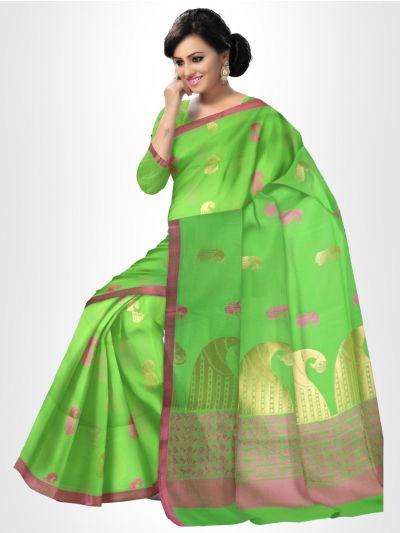 Fancy Silk Cotton Saree-Green - FCSS129