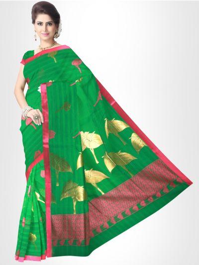 Fancy Silk Cotton Saree-RoyalGreen - FCSS130