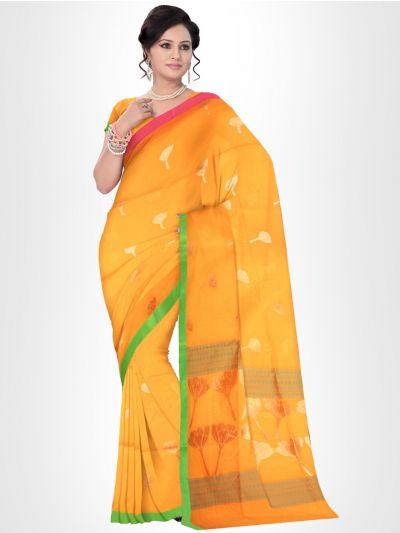 Fancy Silk Cotton Saree-Yellow - FCSS131