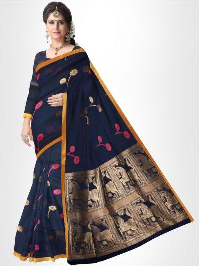 Fancy Silk Cotton Saree-Navy Blue - FCSS132