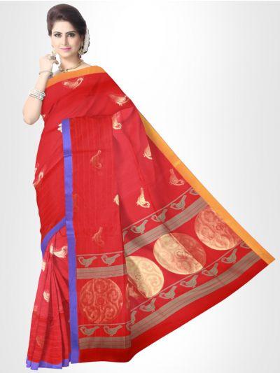 Fancy Silk Cotton Saree-Red - FCSS133
