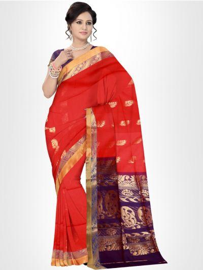 Fancy Silk Cotton Saree-Red - FCSS135