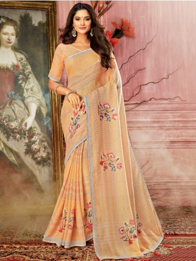 Kathana Fancy Semi Jute Saree - AVIV13994