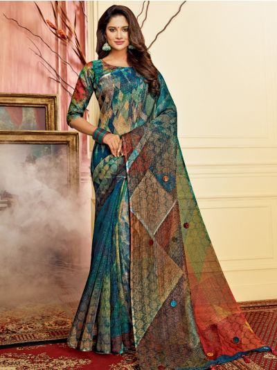 Kathana Fancy Semi Jute Saree - MFB5134747