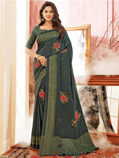 Kathana Fancy Semi Jute Saree - AVIV13998