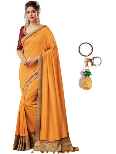 Semi Raw Silk Saree With Fancy Imported Keychain - PWS1403K10