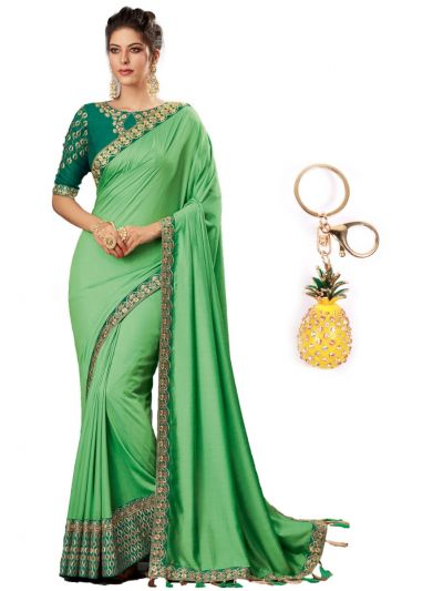 Semi Raw Silk Half Saree With Imported Fancy Keychain - PWS1408K4