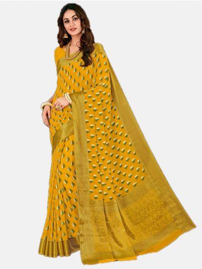 Semi Chiffon Fancy Saree-Yellow-SCFS1606