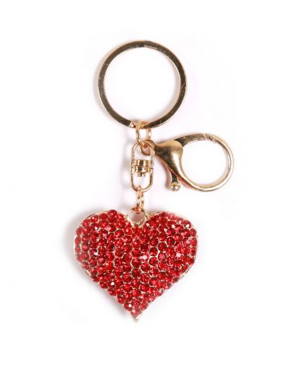Big Heart Key Chain With Red Color Crystal Stone and Gold  Metal Ring - KCC16