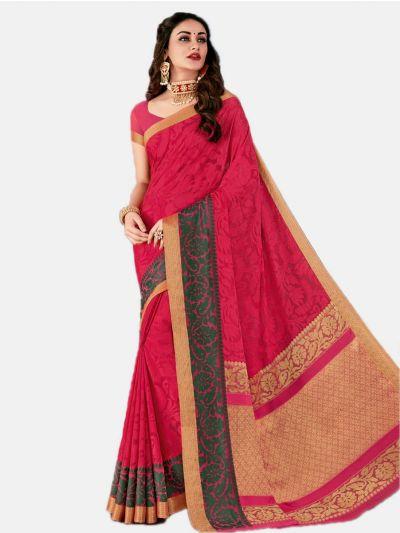 Semi Chiffon Fancy Saree-Pink-SCFS1736
