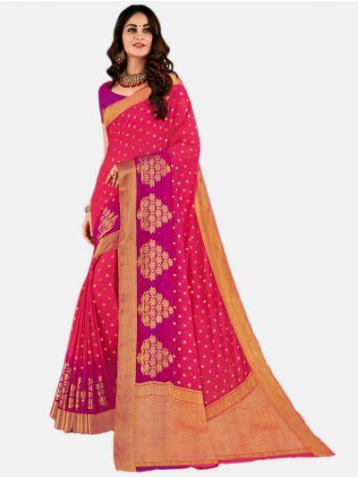 Semi Chiffon Fancy Saree-Pink-SCFS1742
