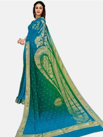 Semi Chiffon Fancy Saree-Blue-SCFS1746