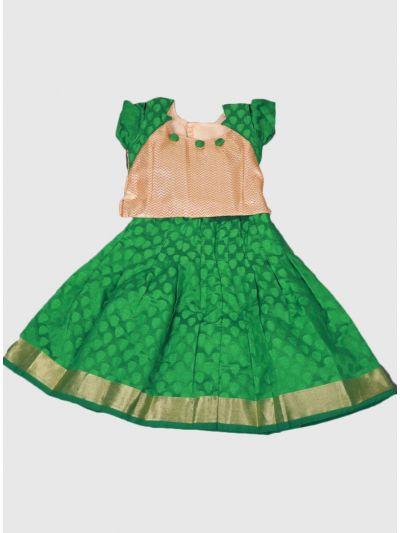 Green Color Chanderi Jacquard Pattu Pavadai