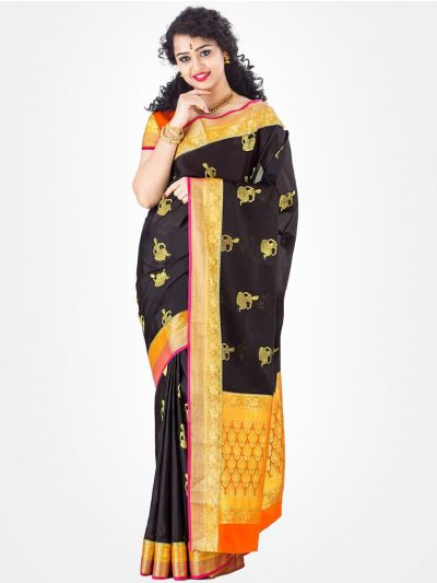 Black Mysore Silk Saree