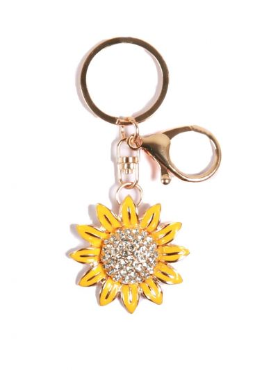 Sunflower Key Chain with Yellow Color Crystal Stone with Gold Metal Ring - KCC017