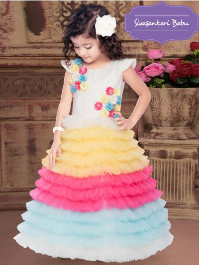 Sivasankari Babu Exclusive Girls Netted Long Frock With Patch Work - MIA3093118