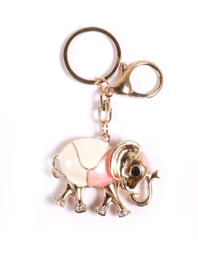 Pale Pink Elephant Key Chain With Pale Pink Color and Gold Metal Ring - KCC18