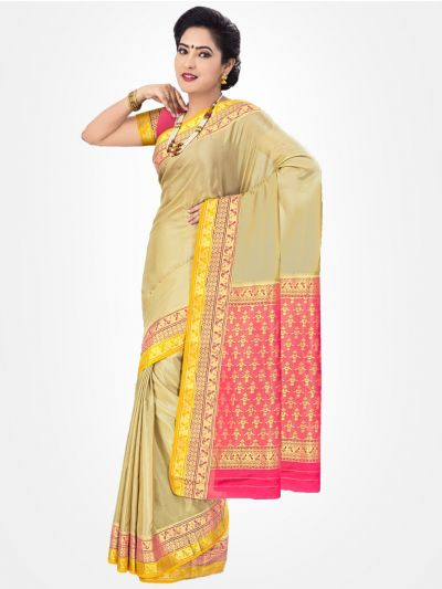 Mysore Silk Saree - Sandle-MCSS019