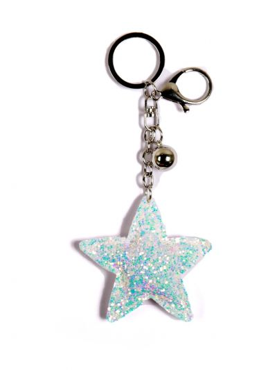 White Star Key Chain With White Color and Silver Ring - KCC19