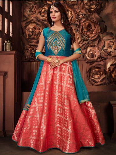 Kyathi Silk Jacquard Embroidery Readymade Anarkali Salwar Kameez - MFB6270958