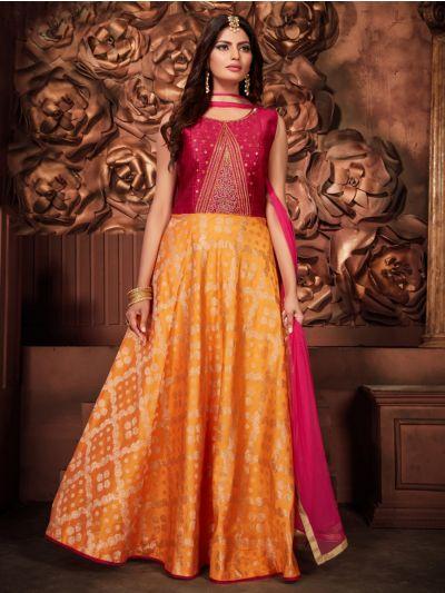 Kyathi Silk Jacquard Embroidery Readymade Anarkali Salwar Kameez - MFB6270956
