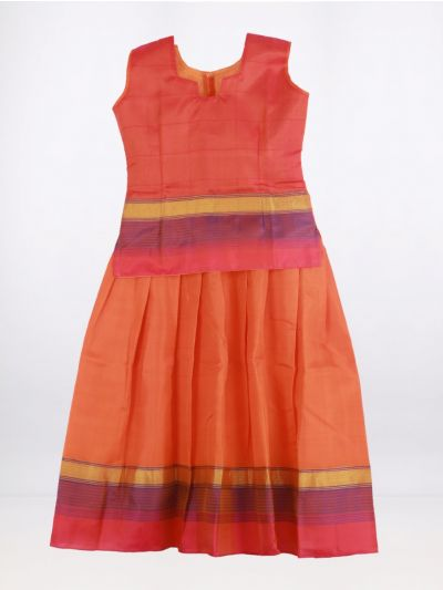 Fancy Art Silk Pattu Pavadai - Orange - ASPP2004