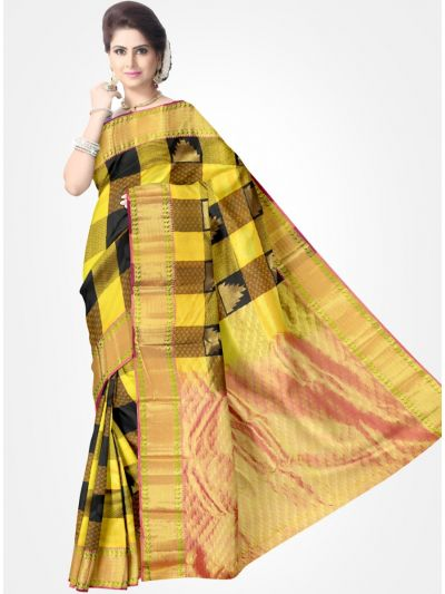 Yellow with Black Color Traditional Silk Saree