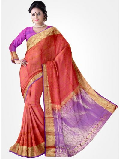 Orange Color Traditional Silk Saree
