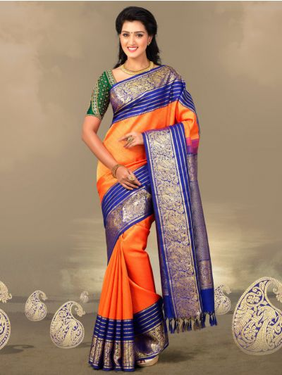 Vivaha Goddess Orange Color Pure Silk Saree